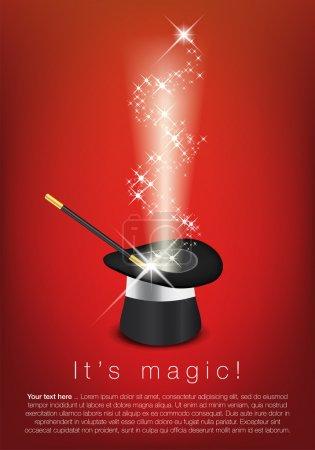 Illustration pour Chapeau magique, baguette magique et étoiles brillantes - place pour votre texte. Illustration vectorielle . - image libre de droit