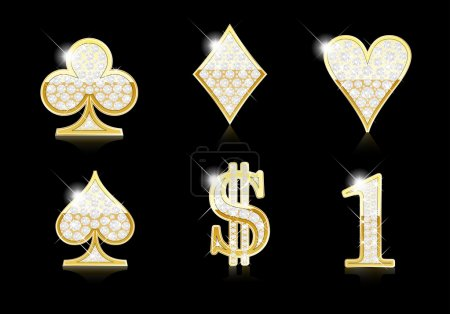 Card, Dollar and Number one symbols - gold and diamonds