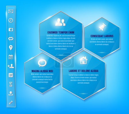 Transparent glossy blue frames and set of simple metallic icons