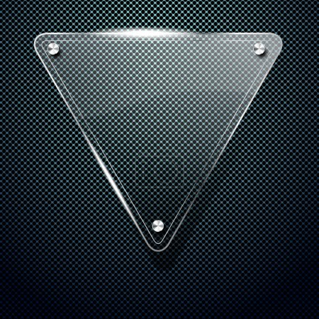 Metal background with glass triangle frame for your text