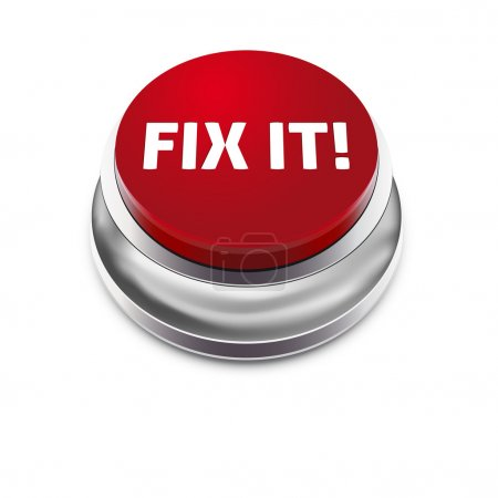Illustration for Red button FIX IT - isolated on white background - vector illustration - Royalty Free Image
