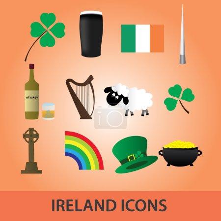 ireland icons set eps10