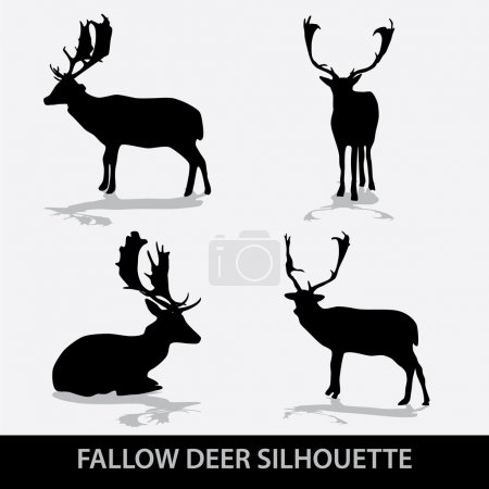 Fallow deer silhouette icons eps10...