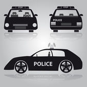 Police car from front back and side view eps10
