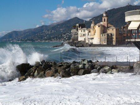 Waves crashing on the beach at Camogli, Italy