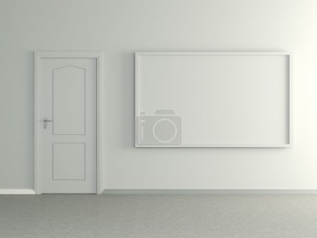 Modern home interior with picture and door. 3D.