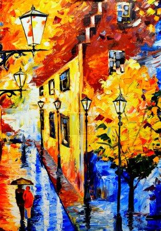 El cuadro pintado con pinturas al óleo