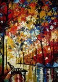 """Постер, картина, фотообои """"картину, написанную масляными красками скамейке в парке"""""""