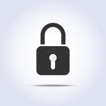 Closed lock icon in vector square symbol...