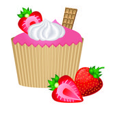 Cupcake with strawberry whipped cream and waffle in vector