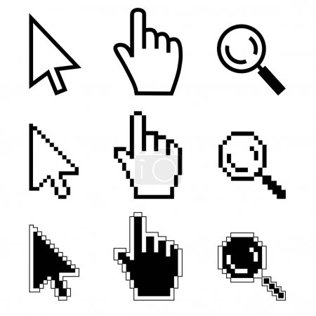 Hand, cursor, magnifier.