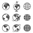 Earth vector icons set on white background...