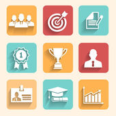 Vector illustration partnership and cooperation Business icons - cooperation victory success achieving goal and celebration
