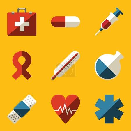 Flat icon set. Medical