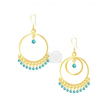 Round handmade earrings isolated on white background
