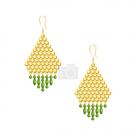 Gold earrings with green beads, isolated on white background