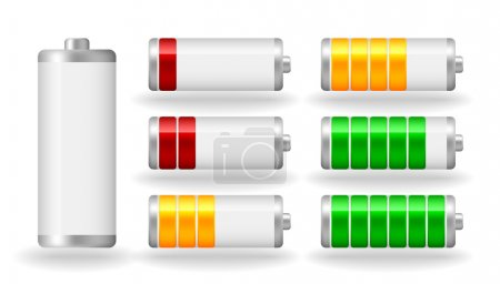Illustration for Vector glossy battery fullness indicator with light shadow - Royalty Free Image
