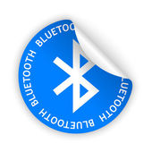 Vector blue bent sticker with white bluetooth sign