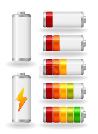 Illustration pour Indicateur de plénitude de batterie brillant vecteur sept avec ombre lumineuse - image libre de droit