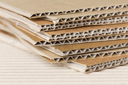 Photo for Pile of corrugated cardboard. Shallow DOF, macro shot. - Royalty Free Image