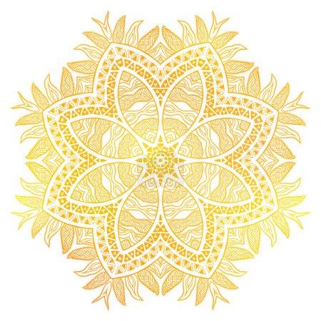 Gold flower over white background