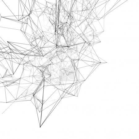 Foto de Líneas conectadas negras en blanco. Fondo abstracto - Imagen libre de derechos