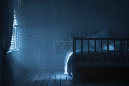 Photo for Bedroom on a moonlit night - Royalty Free Image