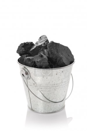 Zinc bucket with coal