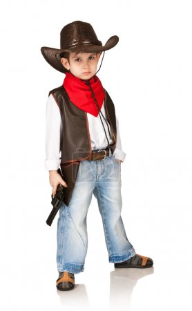 Photo for Little boy in suit of cowboy on a white background - Royalty Free Image