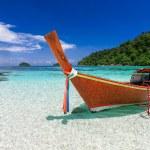 Longtail boat at tropical island, Koh Lipe, Andama...