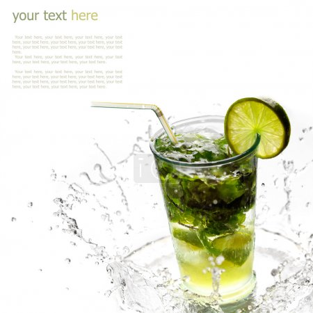 Ice cold Mojito spray, water droplets (with sample text)