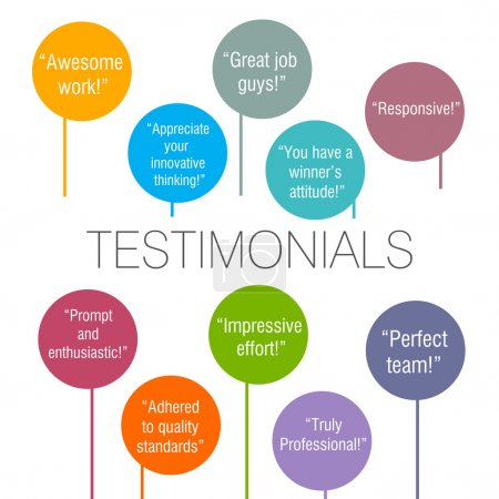 Photo for Generic testimonials from various clients displayed on a colorful background - Royalty Free Image