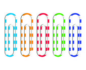 set of five different colored paper clips