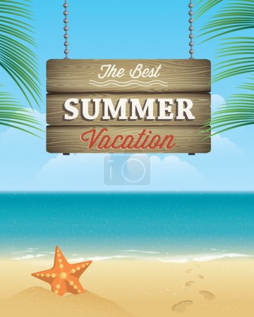 Illustration for Summer Vacation Greeting Card - Royalty Free Image