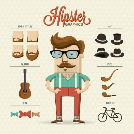 Illustration for Hipster character illustration with hipster elements and icons - Royalty Free Image