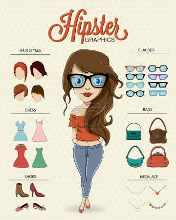 Illustration for Hipster girl character with hipster elements and icons - Royalty Free Image