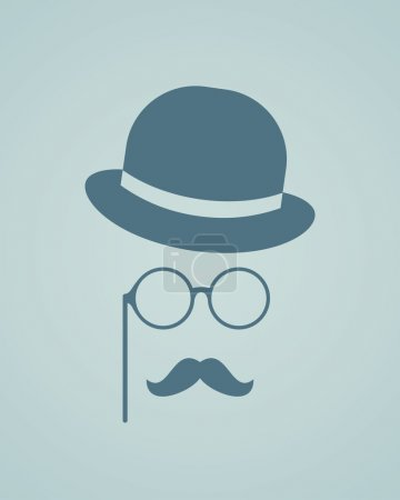 Hat, glasses and mustache.