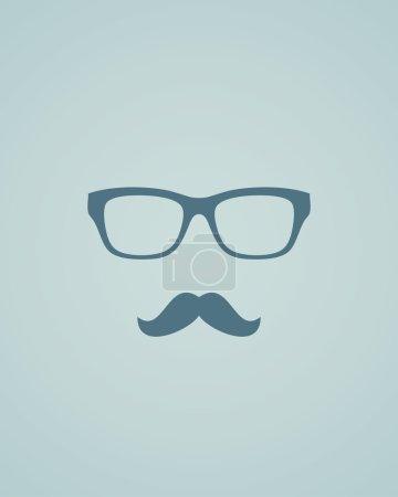 Glasses and mustache.