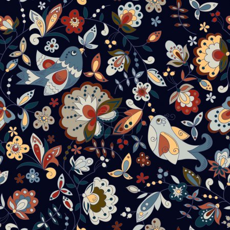 Illustration for Seamless texture with birds and flowers on a dark background Can be used as a background picture, pattern fill, surface texture. Can be used as a figure for tissue - Royalty Free Image