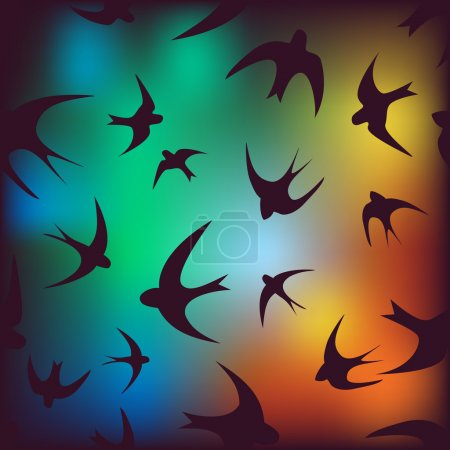 Illustration for Seamless background with swallows.  Use as a pattern fill, backdrop, surface texture, wallpaper - Royalty Free Image
