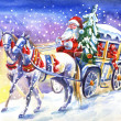 Santa Claus in a carriage with horse . Watercolor ...
