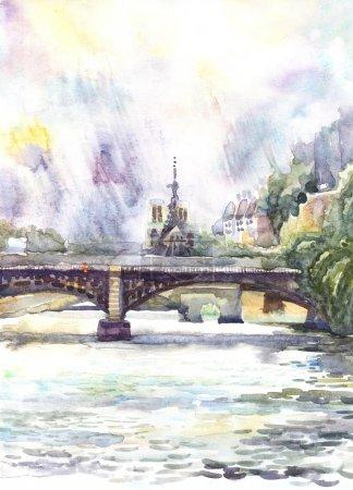 Photo pour Paris. Esquisse du paysage de la ville. Aquarelle illustration peinte à la main sur papier - image libre de droit