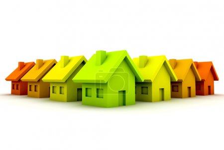 Photo pour Rendu 3D. Concept écologique avec petites maisons . - image libre de droit