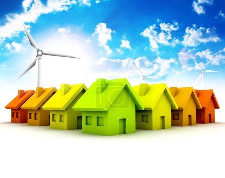 Photo pour Concept écologique avec maisons et moulin à vent . - image libre de droit
