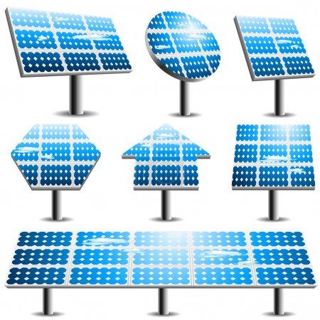 Illustration pour Ensemble vectoriel de différents panneaux solaires . - image libre de droit