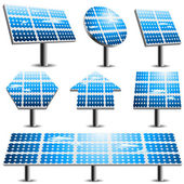 Vector set of different solar panels
