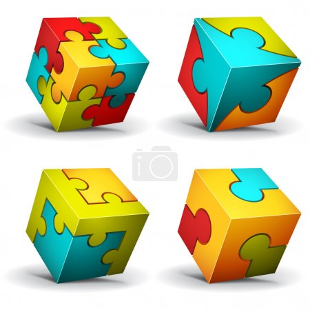 Illustration for Vector illustration of cubes made of puzzle - Royalty Free Image