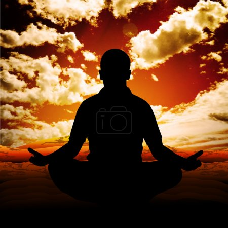 Illustration for Man meditates in the nature. Vector illustration. - Royalty Free Image