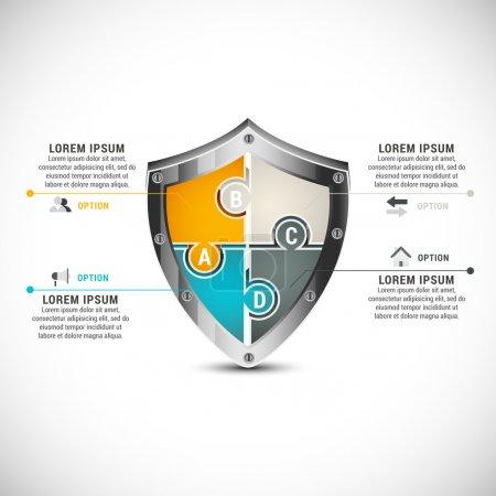 Illustration pour Illustration vectorielle de l'infographie d'entreprise faite de puzzle . - image libre de droit