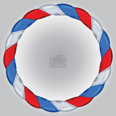 Satin bands of white, red and blue color braided as wreath